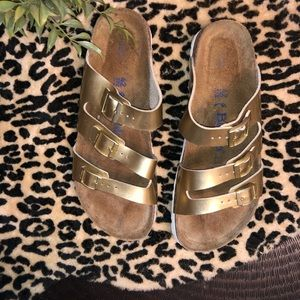 Gold Metallic Birkenstock's Soft Footbed